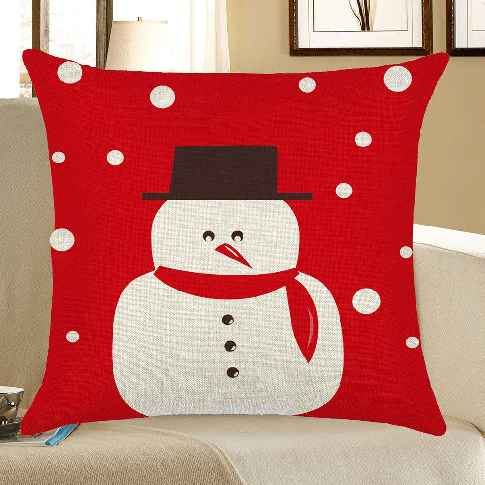 Christmas Snowman Printed Linen Pillow CaseHOME<br><br>Size: W18 INCH * L18 INCH; Color: RED WITH WHITE; Material: Linen; Pattern: Snowman; Style: Festival; Shape: Square; Weight: 0.0800kg; Package Contents: 1 x Pillow Case;