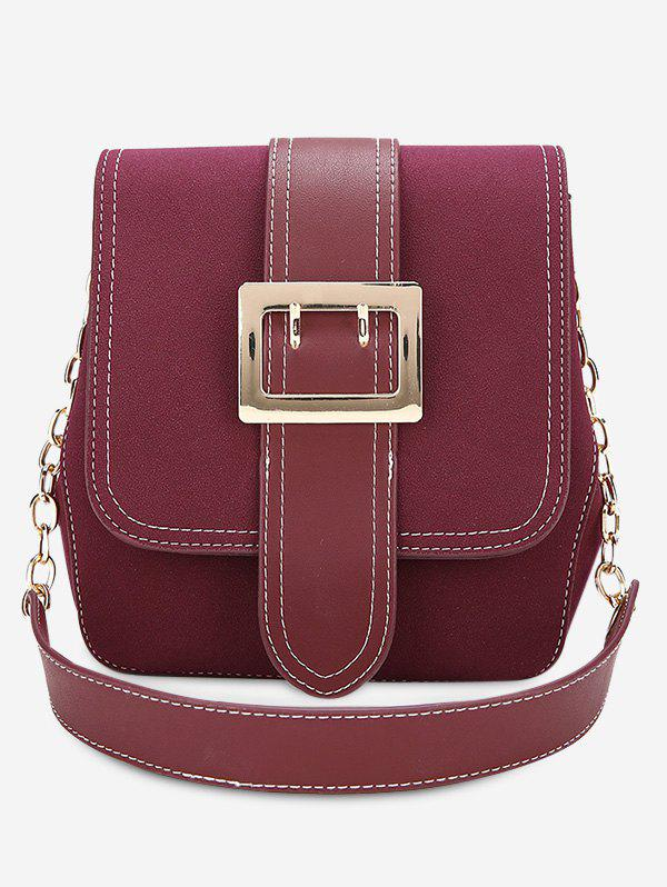 Trendy Buckle Strap Stitching Chain Shoulder Bag