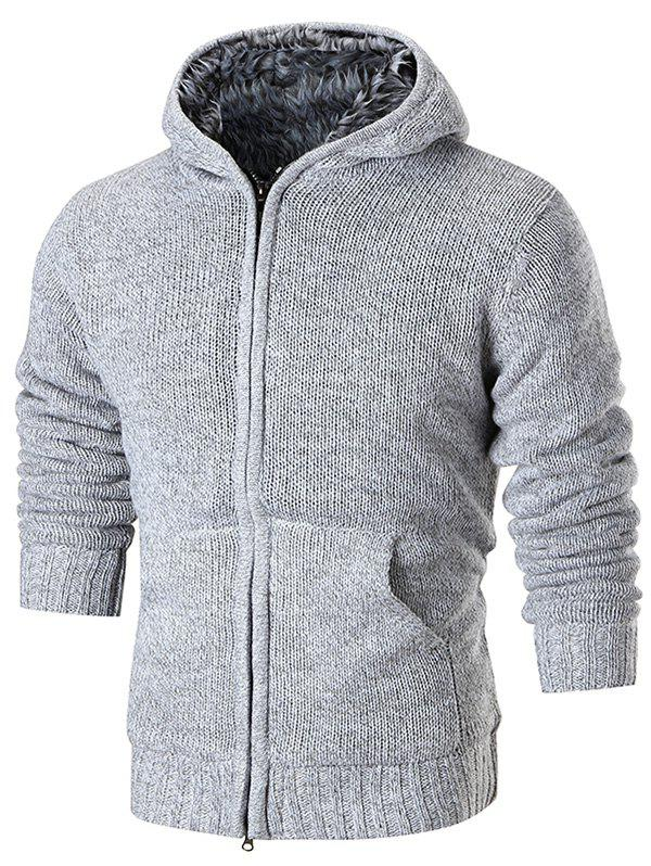 Shop Faux Fur Lining Zip Up Hooded Cardigan