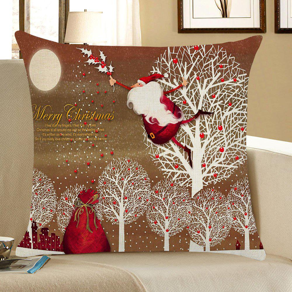 Santa Claus and Trees Pattern Square Pillow CaseHOME<br><br>Size: W18 INCH * L18 INCH; Color: COLORFUL; Material: Linen; Pattern: Santa Claus; Style: Festival; Shape: Square; Weight: 0.0800kg; Package Contents: 1 x Pillow Case;
