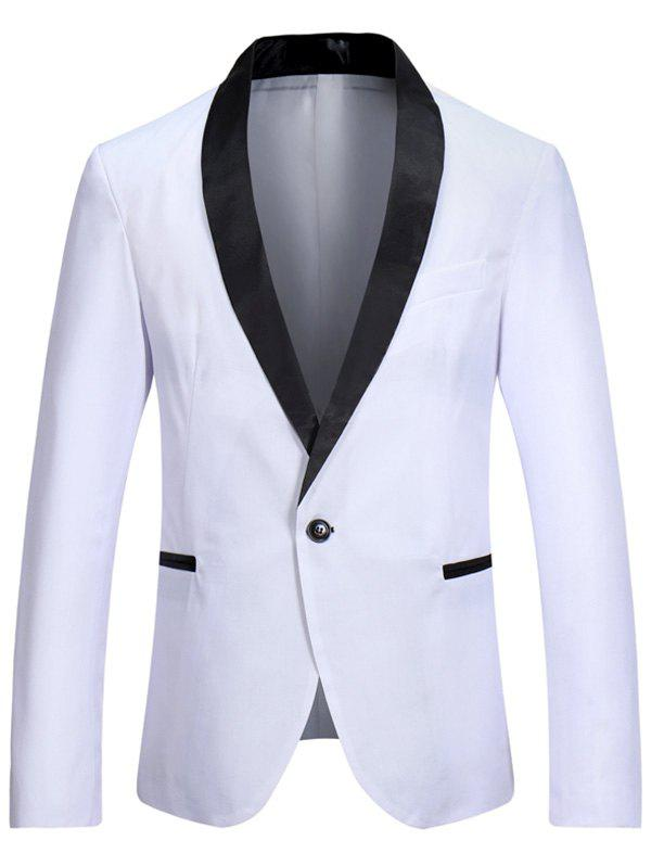 Cheap Casual One Button Shawl Collar Tuxedo Blazer