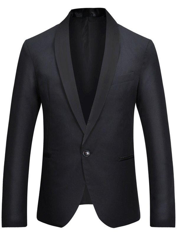 Unique Casual One Button Shawl Collar Tuxedo Blazer