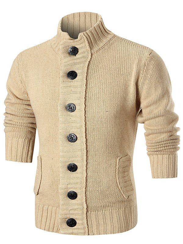 Unique Ribbed Knit Button Up Sweater Cardigan