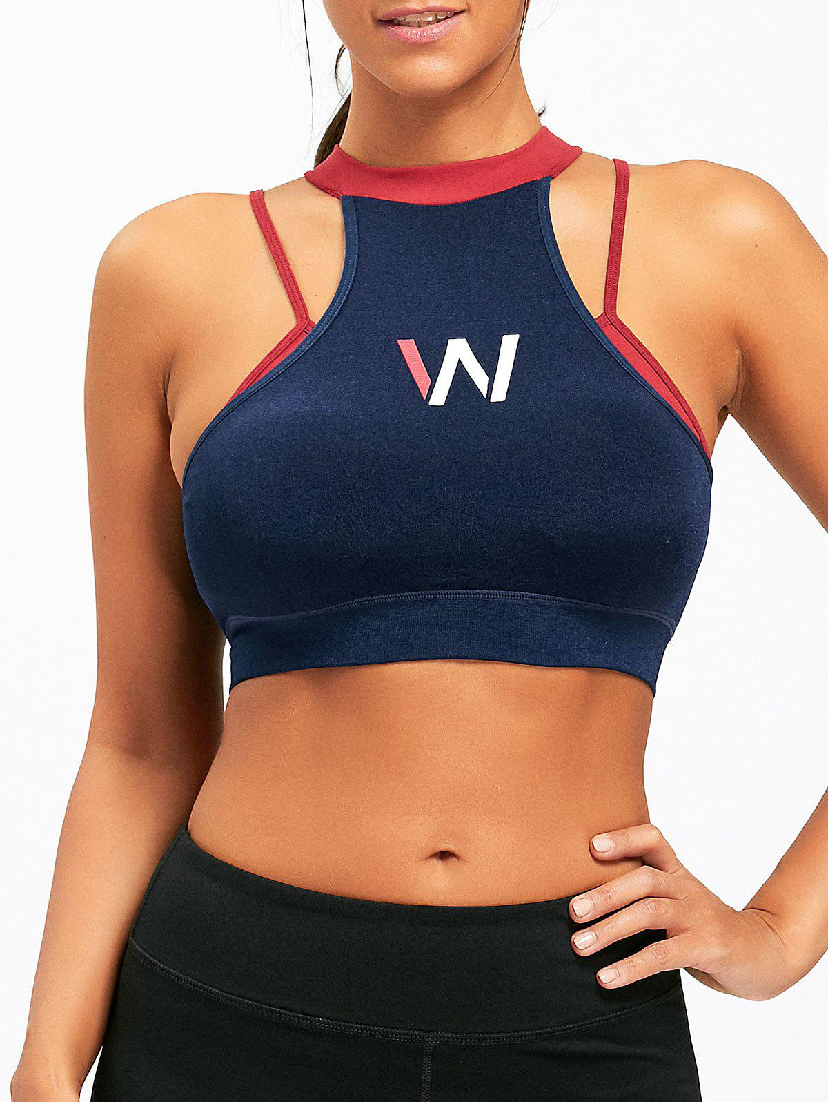 Discount Padded W Graphic Mock Neck Sports Bra