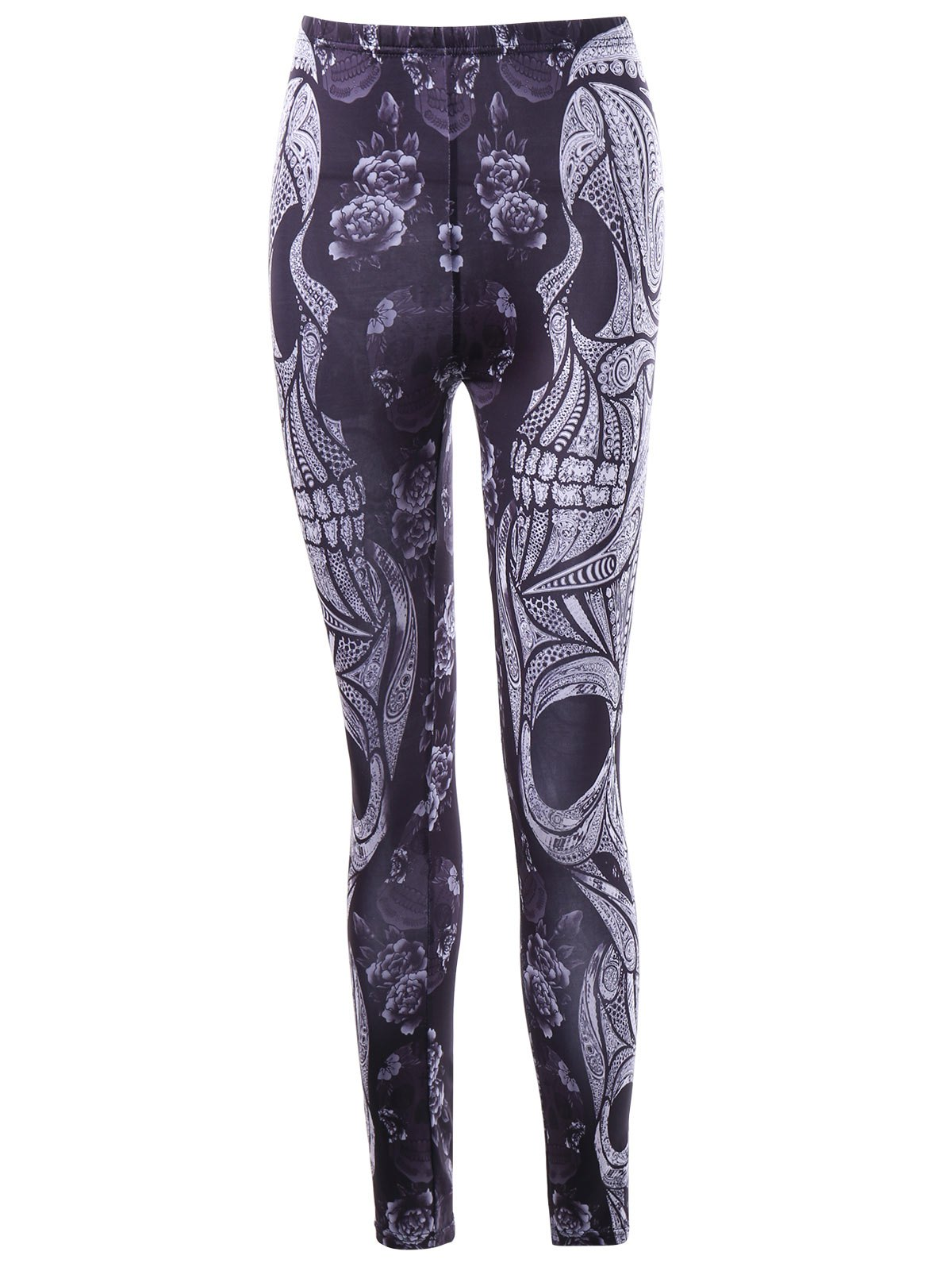 Halloween Flower and Skull Printed LeggingsWOMEN<br><br>Size: 2XL; Color: BLACK; Style: Gothic; Material: Polyester,Spandex; Waist Type: Mid; Pattern Type: Floral,Skull; Weight: 0.1740kg; Package Contents: 1 x Leggings;