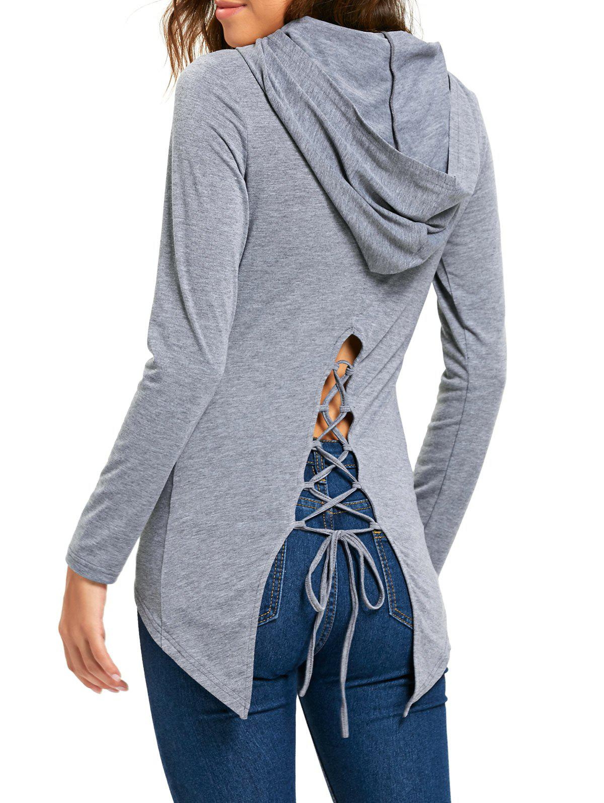 High Low Lace Up Hooded Tunic T-shirtWOMEN<br><br>Size: M; Color: GRAY; Material: Polyester,Spandex; Shirt Length: Regular; Sleeve Length: Full; Collar: Hooded; Style: Fashion; Pattern Type: Solid; Season: Fall,Spring; Weight: 0.3000kg; Package Contents: 1 x Shirt;