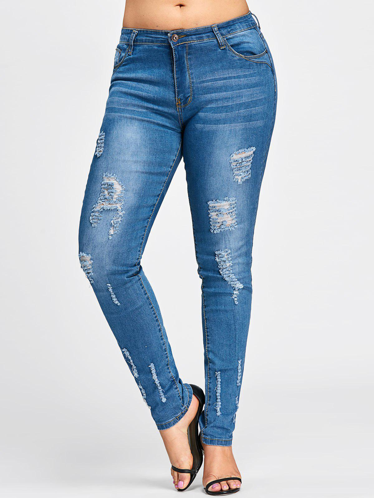 Plus Size Beach Destroyed Wash Skinny JeansWOMEN<br><br>Size: 3XL; Color: DENIM BLUE; Style: Fashion; Length: Normal; Material: Jeans; Fabric Type: Denim; Fit Type: Skinny; Waist Type: Mid; Closure Type: Button Fly; Pattern Type: Solid; Embellishment: Hole; Pant Style: Pencil Pants; Weight: 0.5300kg; Package Contents: 1 x Jeans;