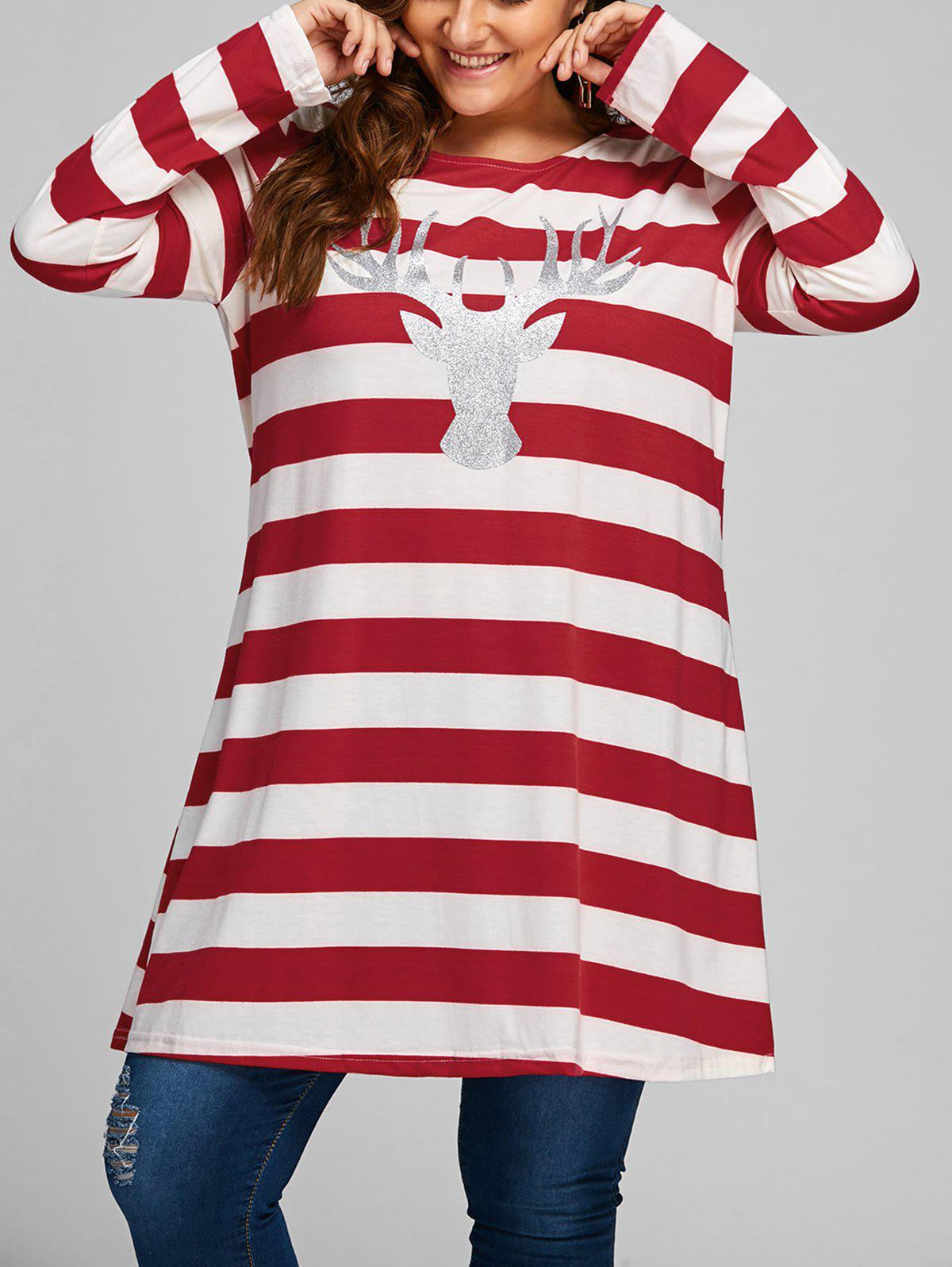 Plus Size Striped Christmas Elk Longline T-shirtWOMEN<br><br>Size: 3XL; Color: RED; Material: Cotton,Polyester; Shirt Length: Long; Sleeve Length: Full; Collar: Round Neck; Style: Fashion; Season: Fall; Pattern Type: Animal,Striped; Weight: 0.3500kg; Package Contents: 1 x T-shirt;