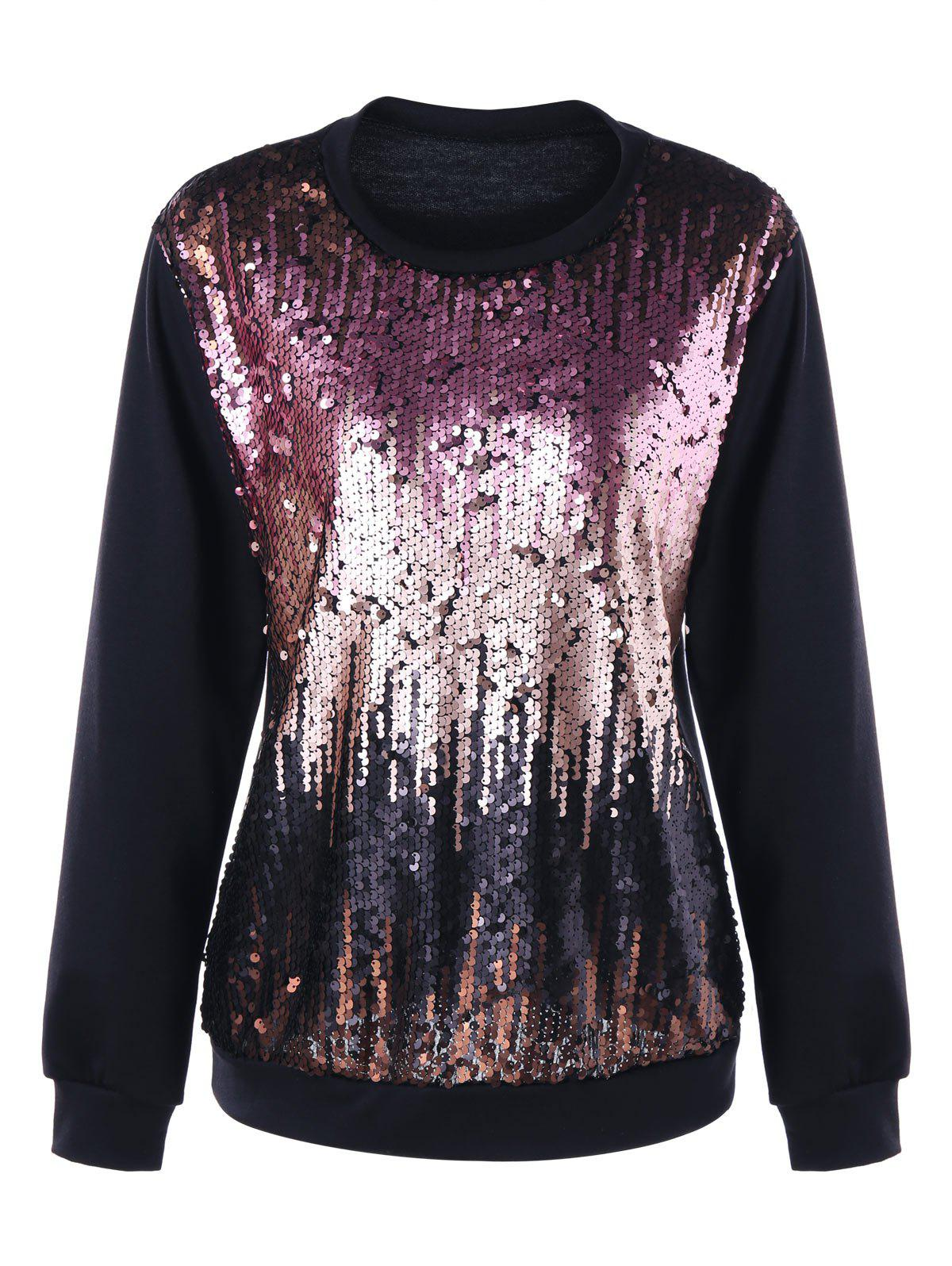 Plus Size Gradient Color Sequined SweatshirtWOMEN<br><br>Size: 3XL; Color: PINK; Material: Polyester,Spandex; Shirt Length: Regular; Sleeve Length: Full; Style: Fashion; Pattern Style: Solid; Season: Fall,Spring; Weight: 0.3400kg; Package Contents: 1 x Sweatshirt;