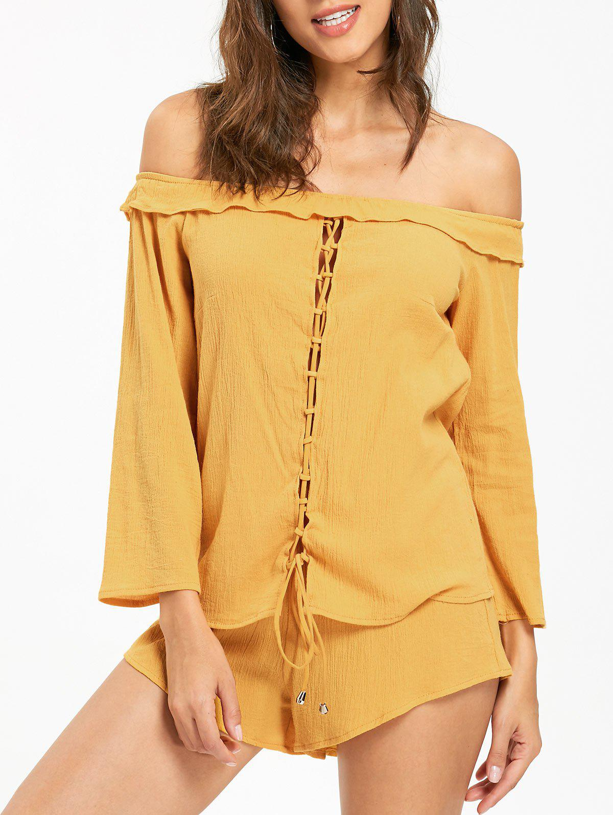 Latest Off The Shoulder Lace Up Blouse with Shorts