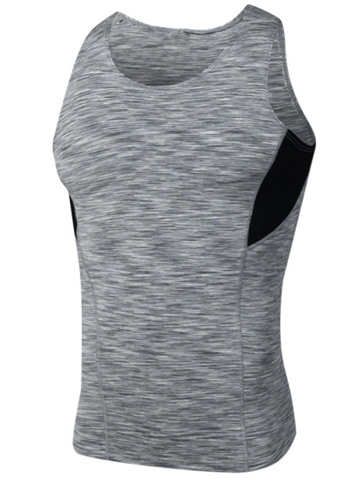 Buy Quick Dry Openwork Panel Fitted Fitness Vest