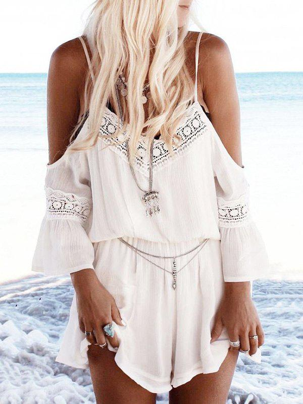 Shop Cold Shoulder Lace Insert Casual Romper