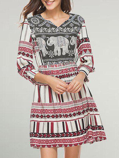 Fashion A Line Tribal Print Casual Dress