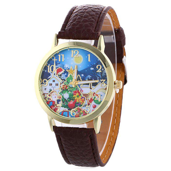 Christmas Night Tree Face Quartz WatchJEWELRY<br><br>Color: BROWN; Gender: For Women; Style: Fashion; Type: Quartz watch; Index Dial: Analog; Case material: Alloy; Band material: PU Leather; Movement: Quartz; Dial Shape: Round; Water-Proof: No; Case Thickness(MM): 10mm; Dial Diameter: 3.8cm; Band Length(CM): 25cm; Band Width(CM): 2cm; Package Contents: 1 x Watch;