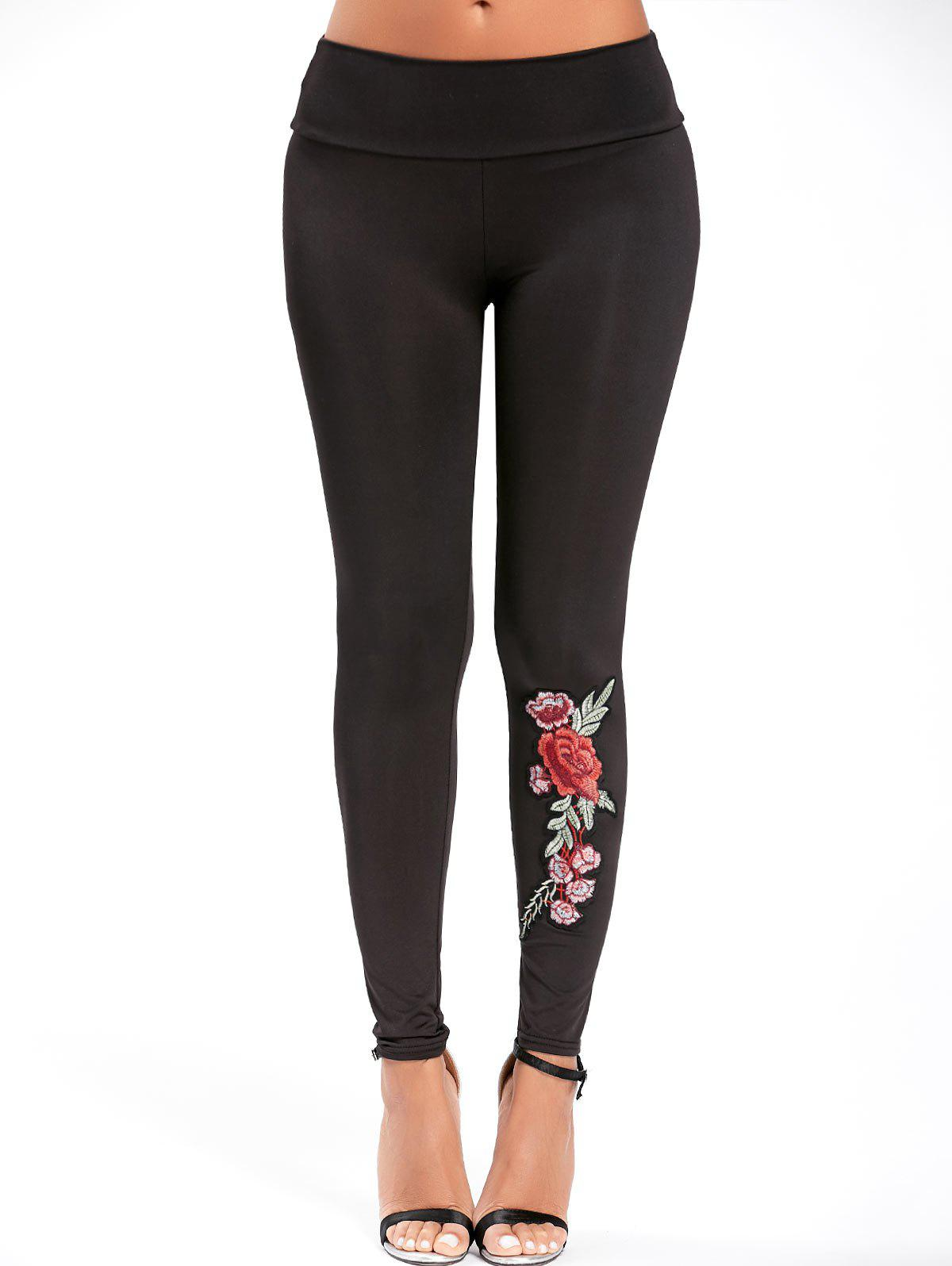 High Waisted Embroidered LeggingsWOMEN<br><br>Size: S; Color: BLACK; Style: Fashion; Material: Cotton,Polyester; Waist Type: High; Pattern Type: Floral; Elasticity: Elastic; Weight: 0.2000kg; Package Contents: 1 x Leggings;