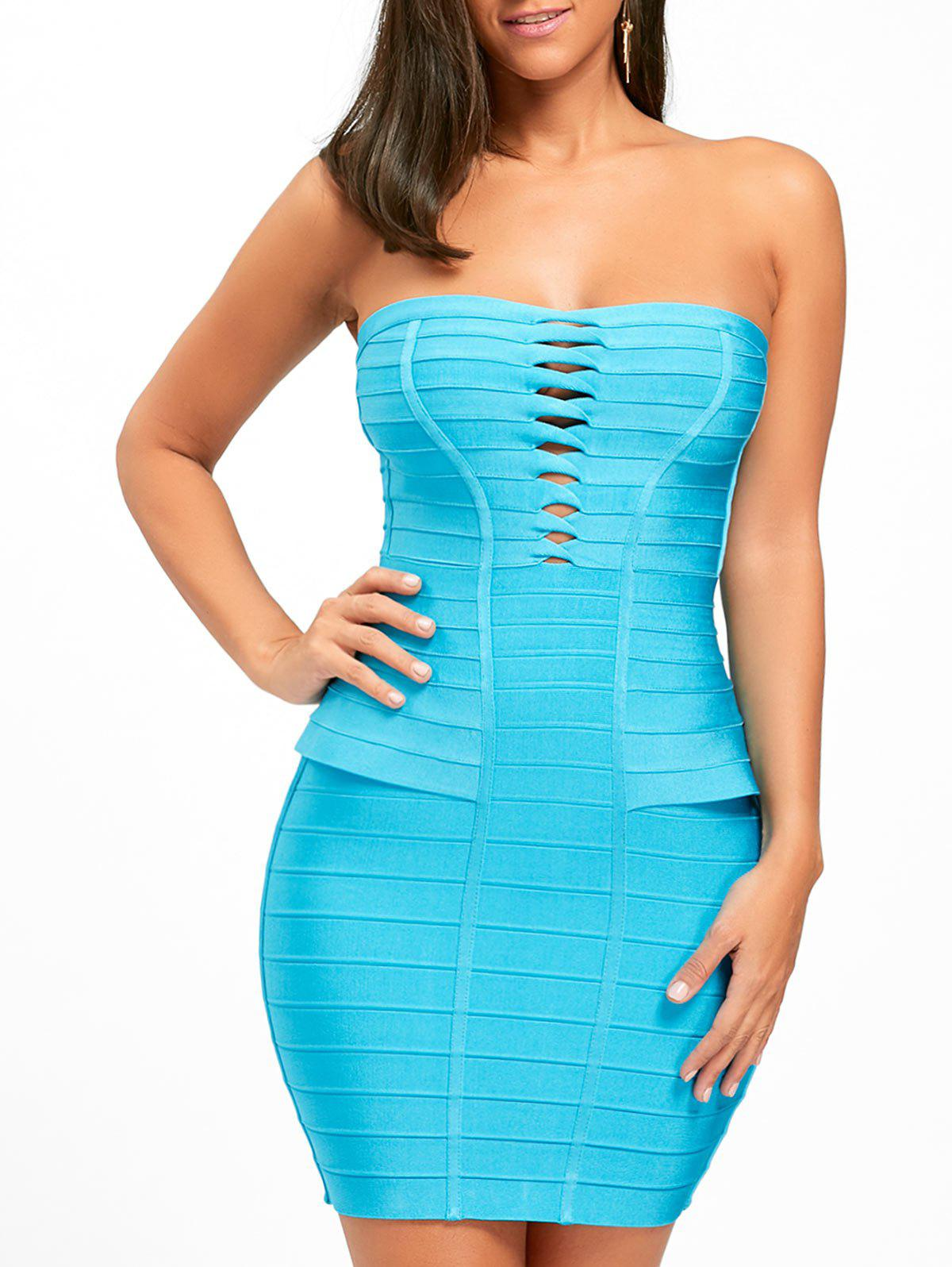 Cheap Hollow Out Bandage Strapless Tight Dress