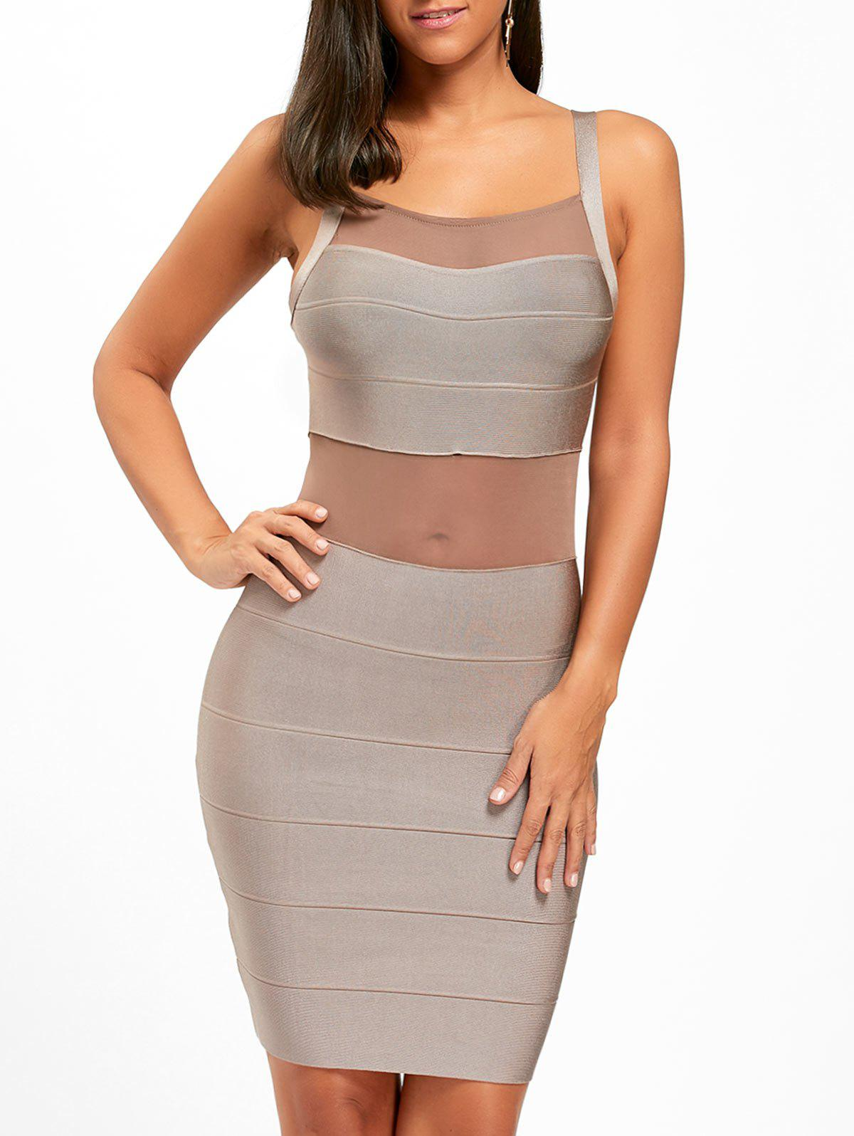 New Mesh Insert Back Cut Out Bodycon Bandage Dress