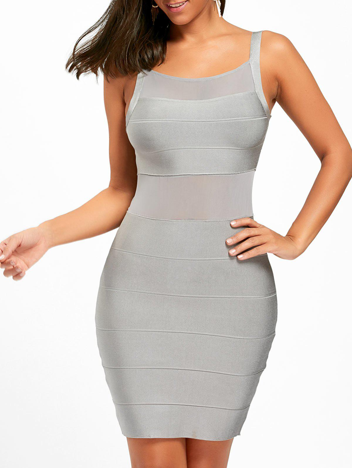 Store Mesh Insert Back Cut Out Bodycon Bandage Dress