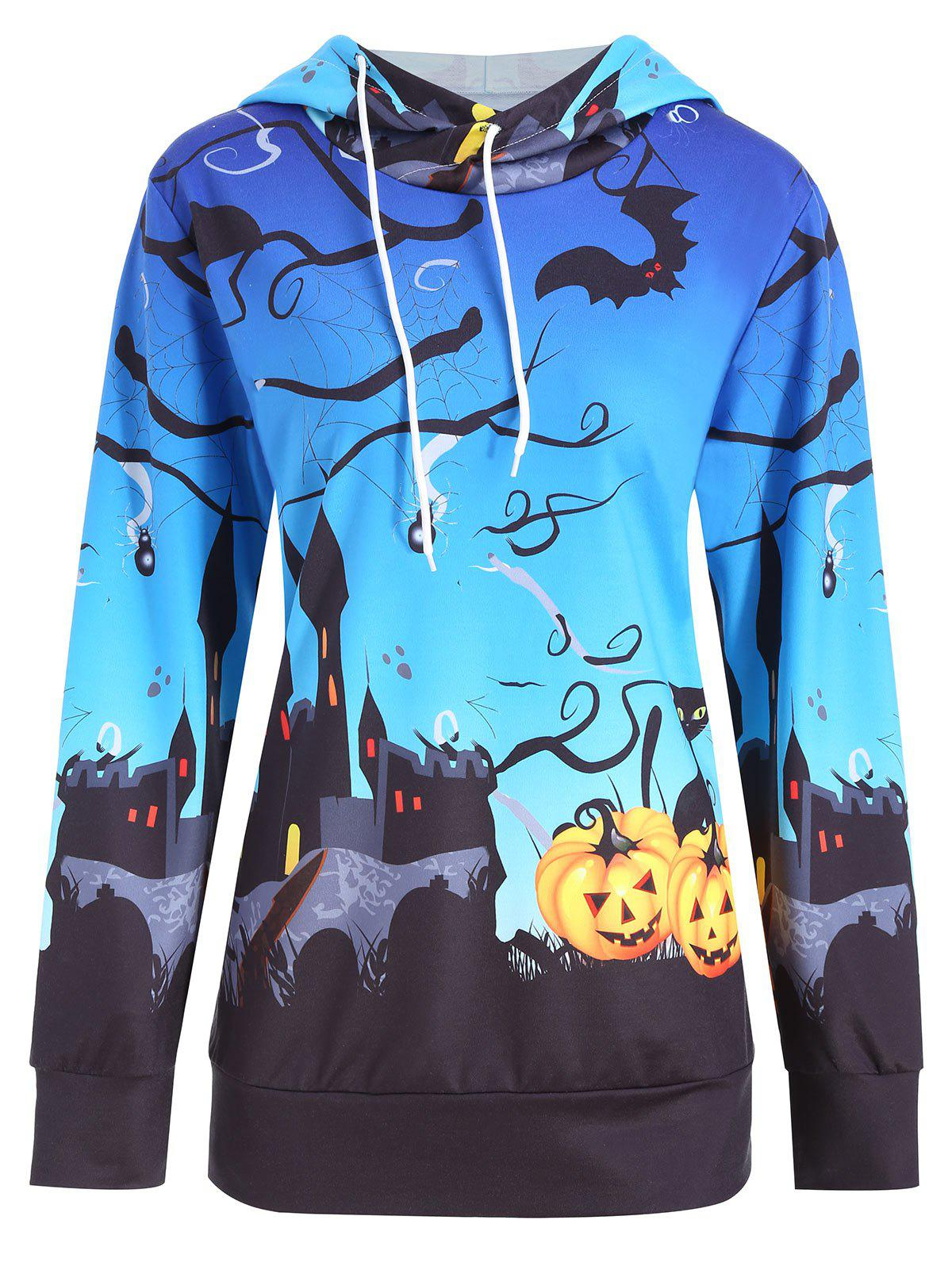 Cheap Halloween Castle Pumpkin Print Plus Size Hoodie
