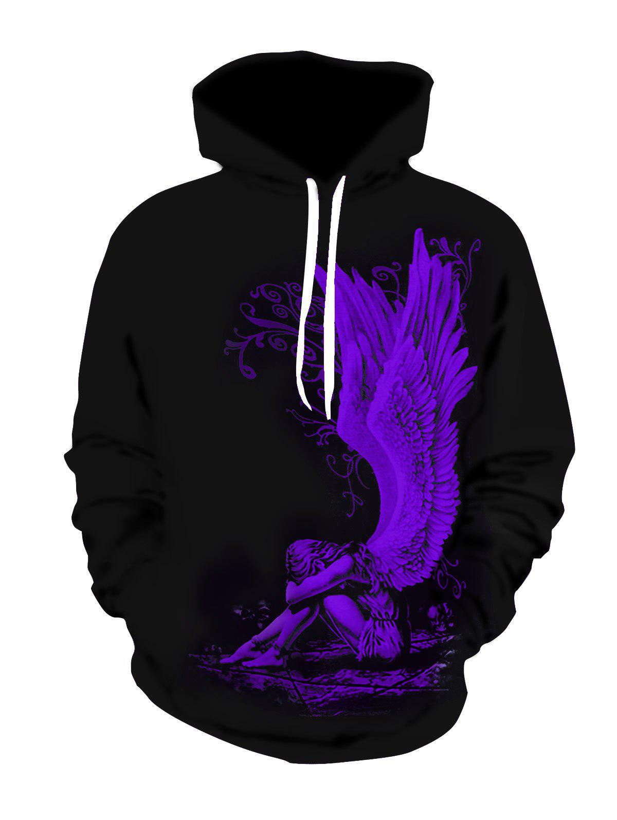 Sale Broken Angel Print Plus Size Hoodie