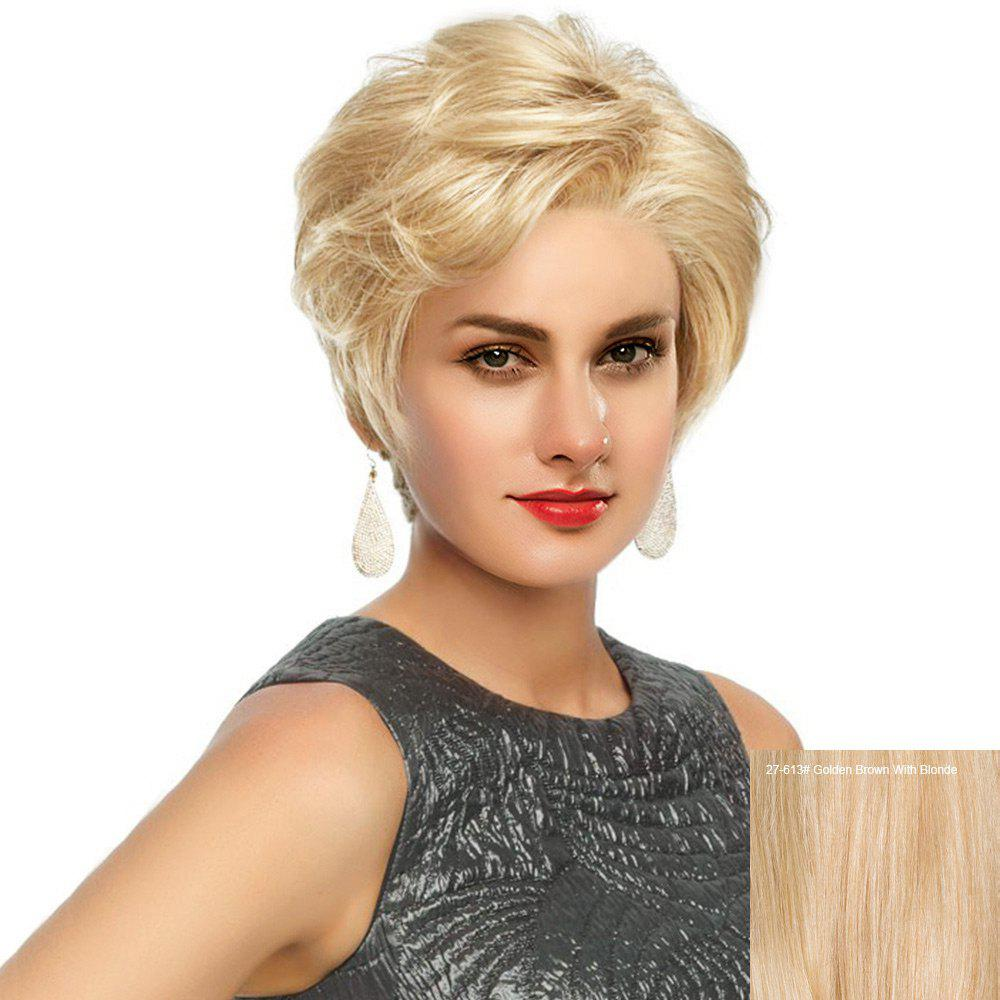 Buy Short Side Bang Fluffy Slightly Curled Human Hair Lace Front Wig