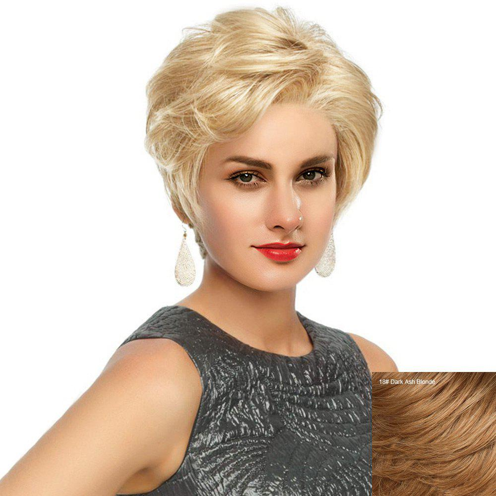 Outfit Short Side Bang Fluffy Slightly Curled Human Hair Lace Front Wig