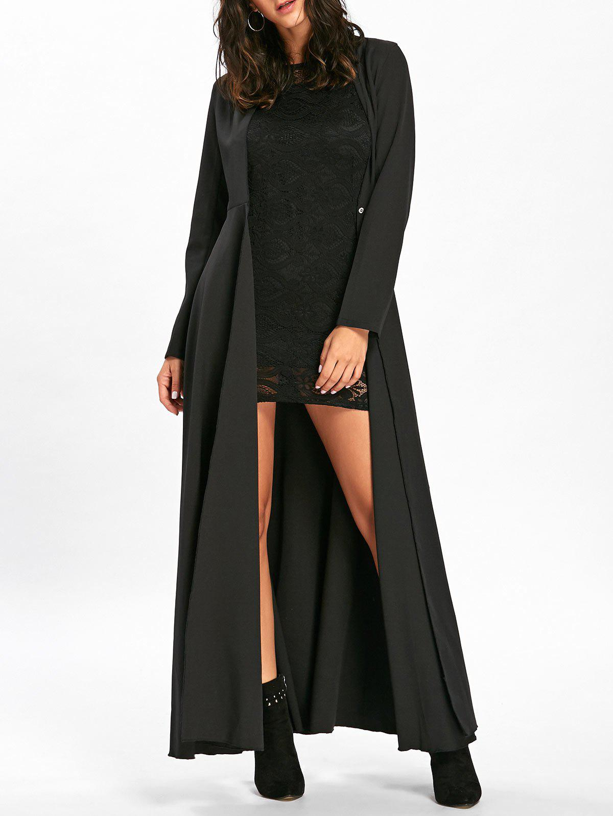 Bodycon Lace Mini Dress with Long CoatWOMEN<br><br>Size: L; Color: BLACK; Clothes Type: Others; Material: Polyester,Spandex; Type: Slim; Shirt Length: Long; Sleeve Length: Full; Sleeve Type: Batwing Sleeve; Collar: Convertible Collar; Pattern Type: Solid; Style: Fashion; Season: Fall,Spring; Weight: 0.5500kg; Package Contents: 1 x Dress   1 x Coat;