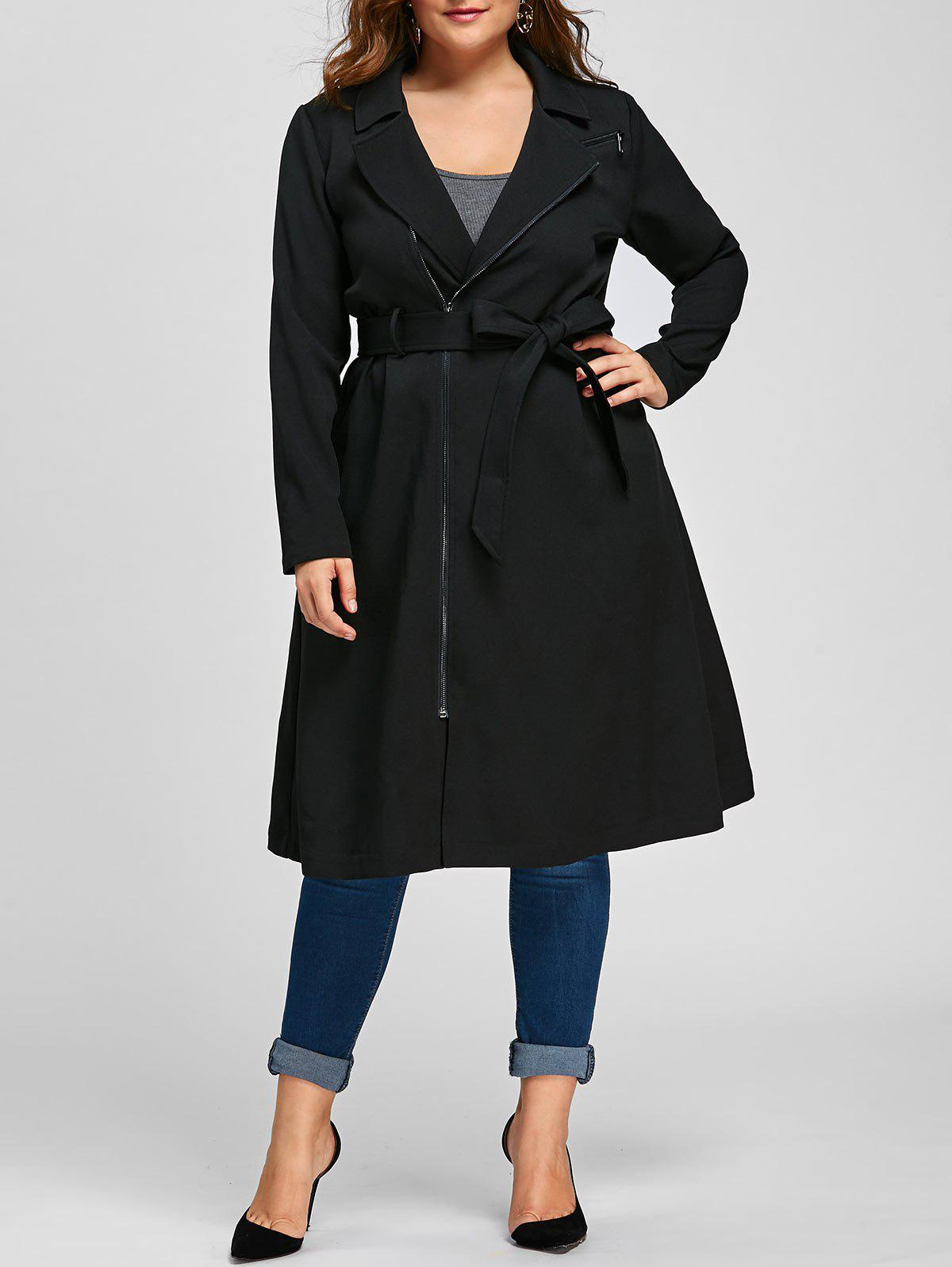 Plus Size Zip Up Trench Coat with Tie BeltWOMEN<br><br>Size: 2XL; Color: BLACK; Clothes Type: Trench; Material: Polyester,Spandex; Type: Slim; Shirt Length: Long; Sleeve Length: Full; Collar: Notched Collar; Pattern Type: Solid; Style: Fashion; Season: Fall,Spring; Weight: 0.8000kg; Package Contents: 1 x Coat  1 x Belt;