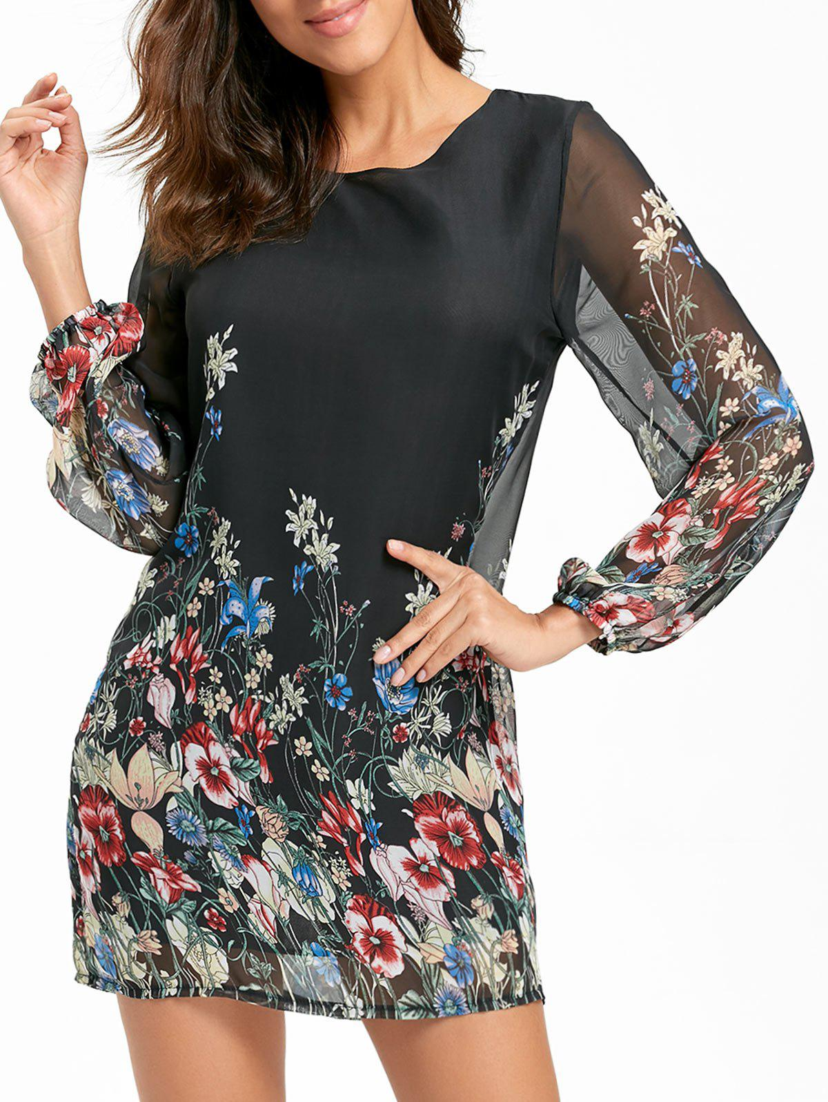 Sheer Long Sleeve Floral Mini Chiffon DressWOMEN<br><br>Size: M; Color: BLACK; Style: Brief; Material: Polyester; Silhouette: Shift; Dresses Length: Mini; Neckline: Round Collar; Sleeve Length: Long Sleeves; Pattern Type: Floral; With Belt: No; Season: Fall,Spring,Summer; Weight: 0.2200kg; Package Contents: 1 x Dress;