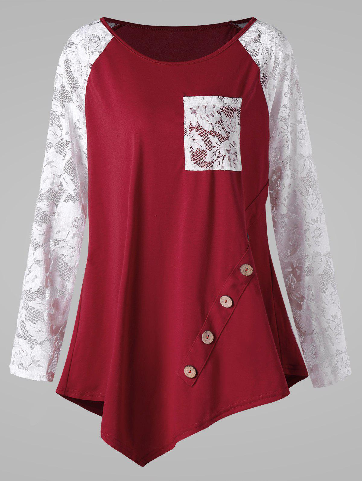 Plus Size Raglan Sleeve Pocket Lace Panel Asymmetric T-shirtWOMEN<br><br>Size: 2XL; Color: RED AND WHITE; Material: Cotton,Lace,Polyester; Shirt Length: Long; Sleeve Length: Full; Collar: Scoop Neck; Style: Casual; Season: Fall,Spring; Embellishment: Button,Lace,Panel; Pattern Type: Others; Weight: 0.2500kg; Package Contents: 1 x T-shirt;