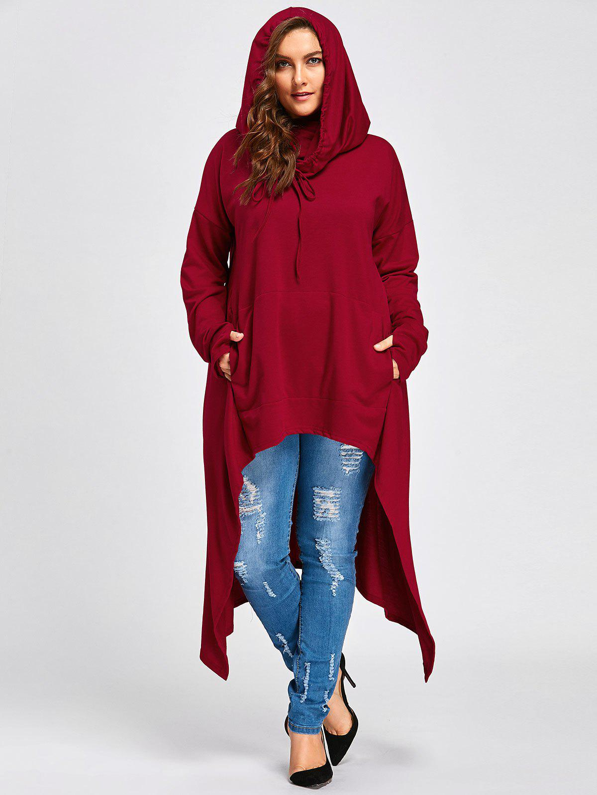 Plus Size Long  High Low  Convertible Collar TopWOMEN<br><br>Size: 4XL; Color: RED; Material: Polyester; Shirt Length: Long; Sleeve Length: Full; Style: Fashion; Pattern Style: Solid; Season: Fall,Winter; Weight: 0.8500kg; Package Contents: 1 x  Top;