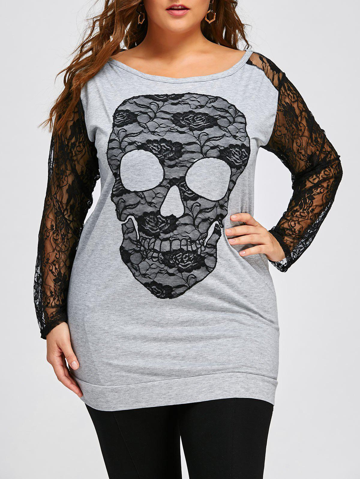 Halloween Plus Size Lace Trim Skull SweatshirtWOMEN<br><br>Size: 5XL; Color: BLACK AND GREY; Material: Polyester,Spandex; Shirt Length: Long; Sleeve Length: Full; Style: Casual; Pattern Style: Skulls; Embellishment: Lace; Season: Fall,Spring; Weight: 0.3700kg; Package Contents: 1 x Sweatshirt;