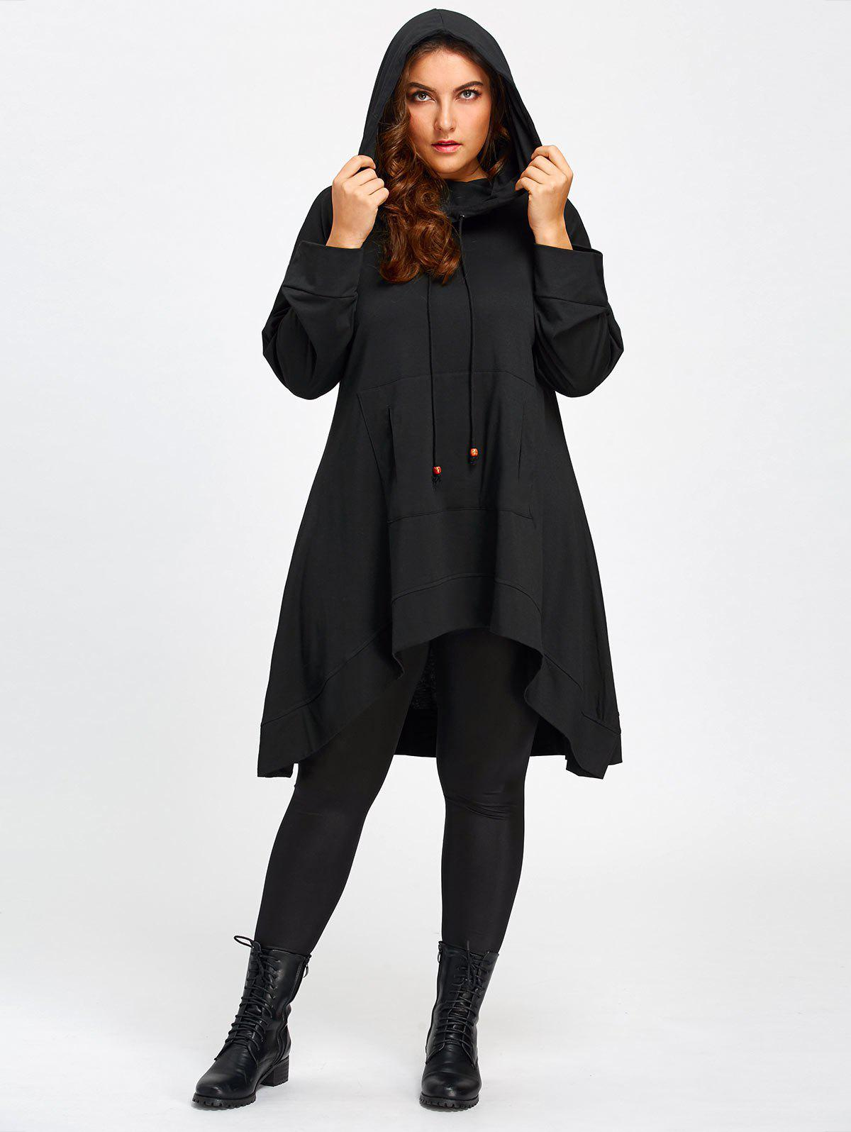 Heaps Collar Plus Size High Low Long HoodieWOMEN<br><br>Size: 3XL; Color: BLACK; Material: Polyester; Shirt Length: Long; Sleeve Length: Full; Style: Casual; Pattern Style: Solid; Embellishment: Front Pocket; Season: Fall,Spring; Weight: 0.6100kg; Package Contents: 1 x Hoodie;