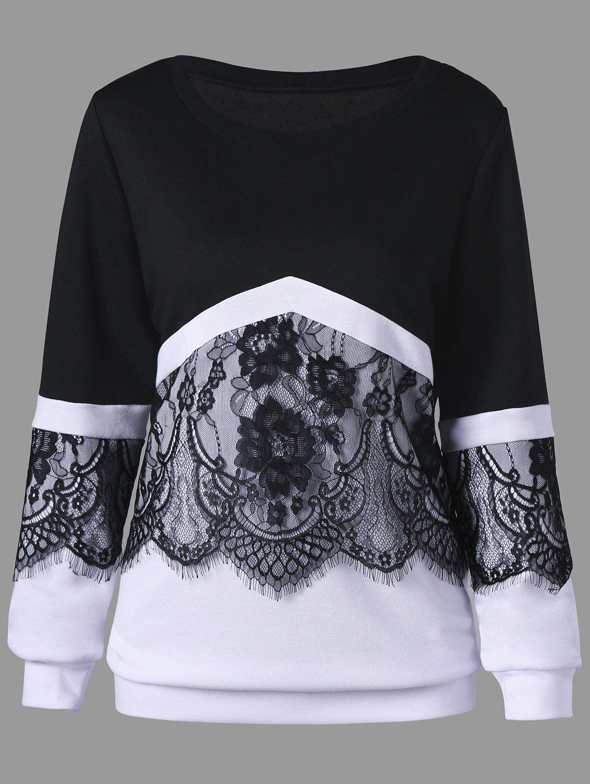 Plus Size Two Tone Eyelash Lace Trim SweatshirtWOMEN<br><br>Size: 3XL; Color: WHITE AND BLACK; Material: Polyester; Shirt Length: Regular; Sleeve Length: Full; Style: Fashion; Pattern Style: Floral; Season: Fall,Spring; Weight: 0.4800kg; Package Contents: 1 x Sweatshirt;