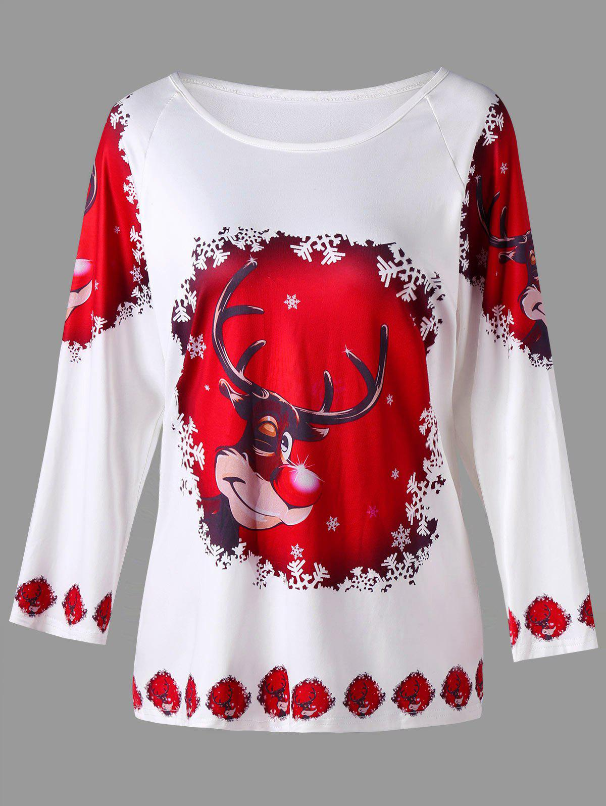 Plus Size Cartoon Deer Print Raglan Sleeve TopWOMEN<br><br>Size: 3XL; Color: WHITE; Material: Cotton,Polyester; Shirt Length: Regular; Sleeve Length: Full; Collar: Scoop Neck; Style: Casual; Season: Fall,Spring; Pattern Type: Character; Weight: 0.4000kg; Package Contents: 1 x T-shirt;