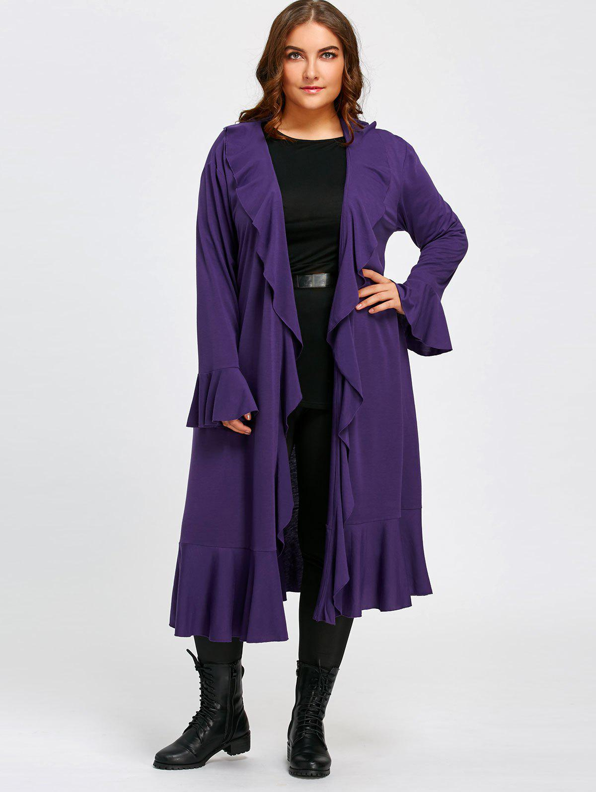 Ruffles Open Front Plus Size Long CoatWOMEN<br><br>Size: 5XL; Color: PURPLE; Clothes Type: Others; Material: Polyester; Type: Wide-waisted; Shirt Length: Long; Sleeve Length: Full; Collar: Turn-down Collar; Pattern Type: Solid; Embellishment: Ruffles; Style: Fashion; Season: Fall,Spring; Weight: 0.5500kg; Package Contents: 1 x Coat;