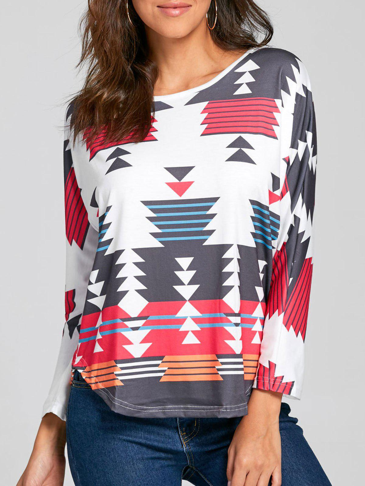 Geometric Print Long Sleeve TopWOMEN<br><br>Size: XL; Color: WHITE; Material: Polyester; Shirt Length: Regular; Sleeve Length: Full; Collar: Round Neck; Style: Casual; Pattern Type: Geometric; Season: Fall,Spring; Weight: 0.3000kg; Package Contents: 1 x Top;