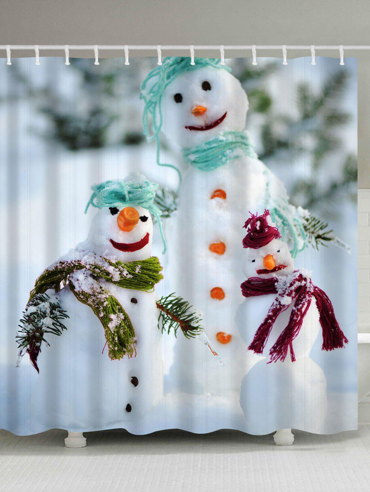 Christmas Snowman Waterproof Shower CurtainHOME<br><br>Size: W71 INCH * L71 INCH; Color: COLORMIX; Products Type: Shower Curtains; Materials: Polyester; Pattern: Snowman; Style: Festival; Number of Hook Holes: W59 inch*L71 inch: 10; W71 inch*L71 inch: 12; W71 inch*L79 inch: 12; Package Contents: 1 x Shower Curtain 1 x Hooks (Set);