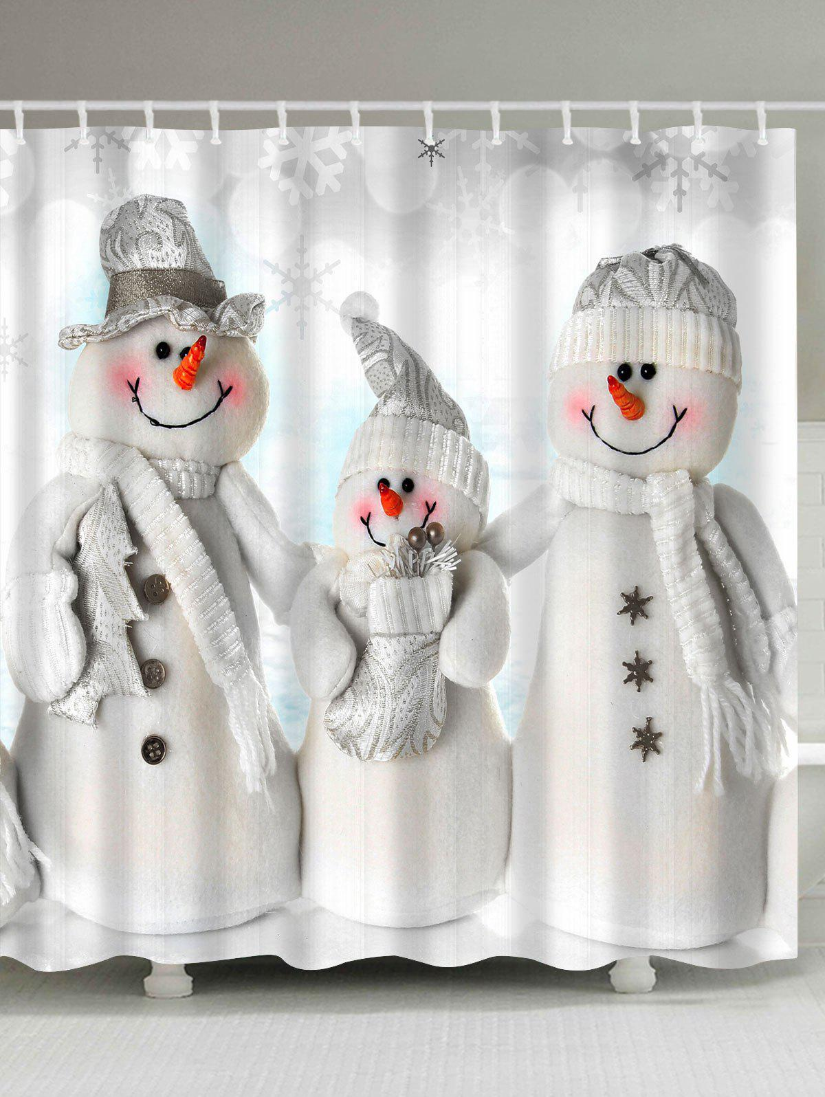 Waterproof Polyester Christmas Snowman Bath CurtainHOME<br><br>Size: W71 INCH * L71 INCH; Color: GREY WHITE; Products Type: Shower Curtains; Materials: Polyester; Pattern: Snowman; Style: Festival; Number of Hook Holes: W59 inch*L71 inch: 10; W71 inch*L71 inch: 12; W71 inch*L79 inch: 12; Package Contents: 1 x Shower Curtain 1 x Hooks (Set);