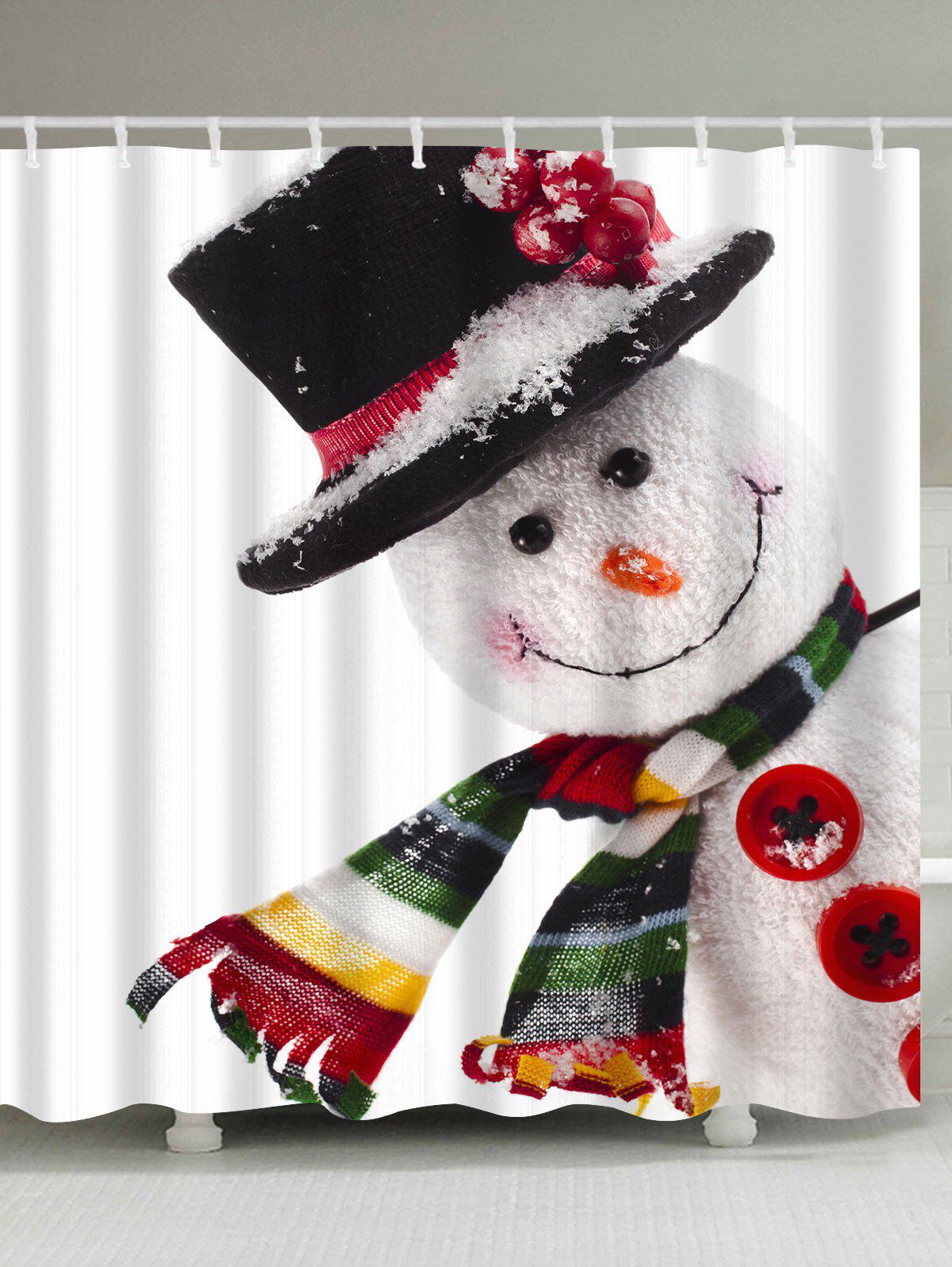 Polyester Waterproof Snowman Christmas Bath CurtainHOME<br><br>Size: W59 INCH * L71 INCH; Color: WHITE; Products Type: Shower Curtains; Materials: Polyester; Pattern: Snowman; Style: Festival; Number of Hook Holes: W59 inch*L71 inch: 10; W71 inch*L71 inch: 12; W71 inch*L79 inch: 12; Package Contents: 1 x Shower Curtain 1 x Hooks (Set);
