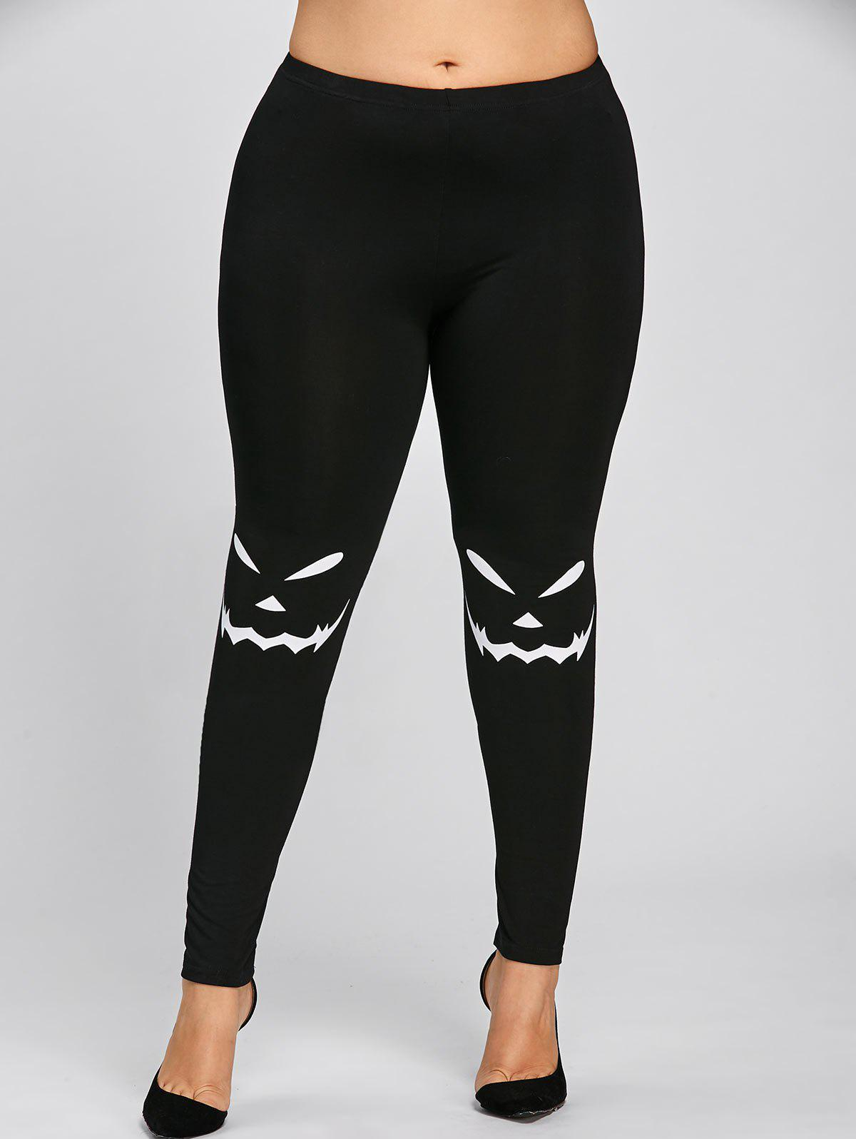 Halloween Plus Size Graphic LeggingsWOMEN<br><br>Size: 5XL; Color: BLACK; Style: Casual; Length: Normal; Material: Polyester,Spandex; Fit Type: Skinny; Waist Type: Mid; Closure Type: Elastic Waist; Pattern Type: Others; Pant Style: Pencil Pants; Weight: 0.2300kg; Package Contents: 1 x Leggings;