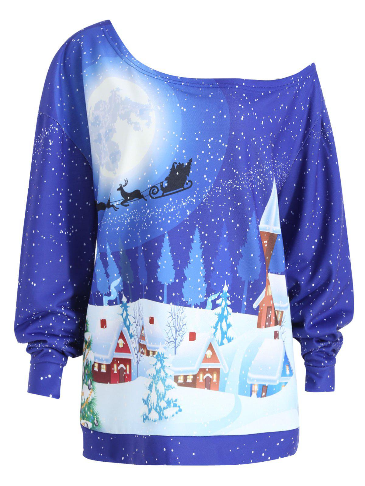 Christmas Evening Printed Plus Size Skew Neck SweatshirtWOMEN<br><br>Size: 3XL; Color: BLUE; Material: Cotton Blend,Polyester; Shirt Length: Regular; Sleeve Length: Full; Style: Fashion; Pattern Style: Print; Season: Fall,Winter; Weight: 0.4100kg; Package Contents: 1 x Sweatshirt;