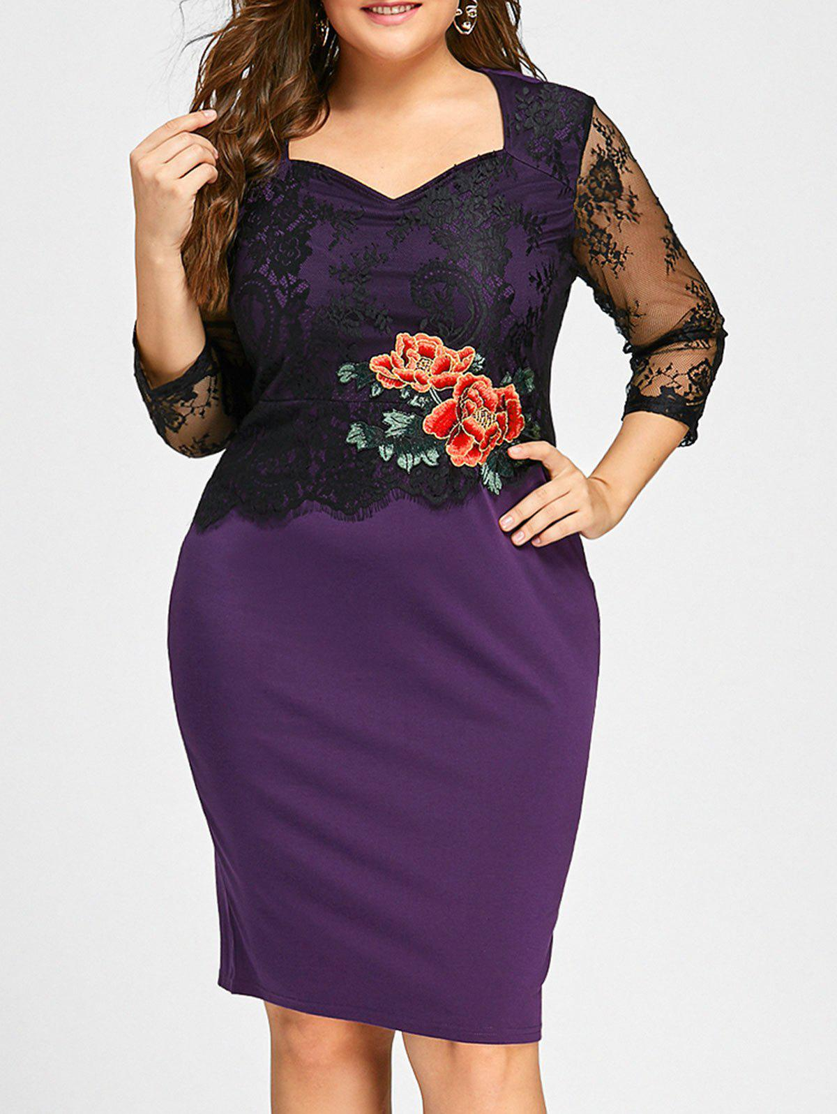 Plus Size Floral Applique Lace Panel Bodycon DressWOMEN<br><br>Size: 5XL; Color: PURPLE; Style: Casual; Material: Cotton,Polyester; Silhouette: Bodycon; Dresses Length: Knee-Length; Neckline: Sweetheart Neck; Sleeve Length: 3/4 Length Sleeves; Embellishment: Appliques; Pattern Type: Floral; With Belt: No; Season: Fall,Spring; Weight: 0.3900kg; Package Contents: 1 x Dress;
