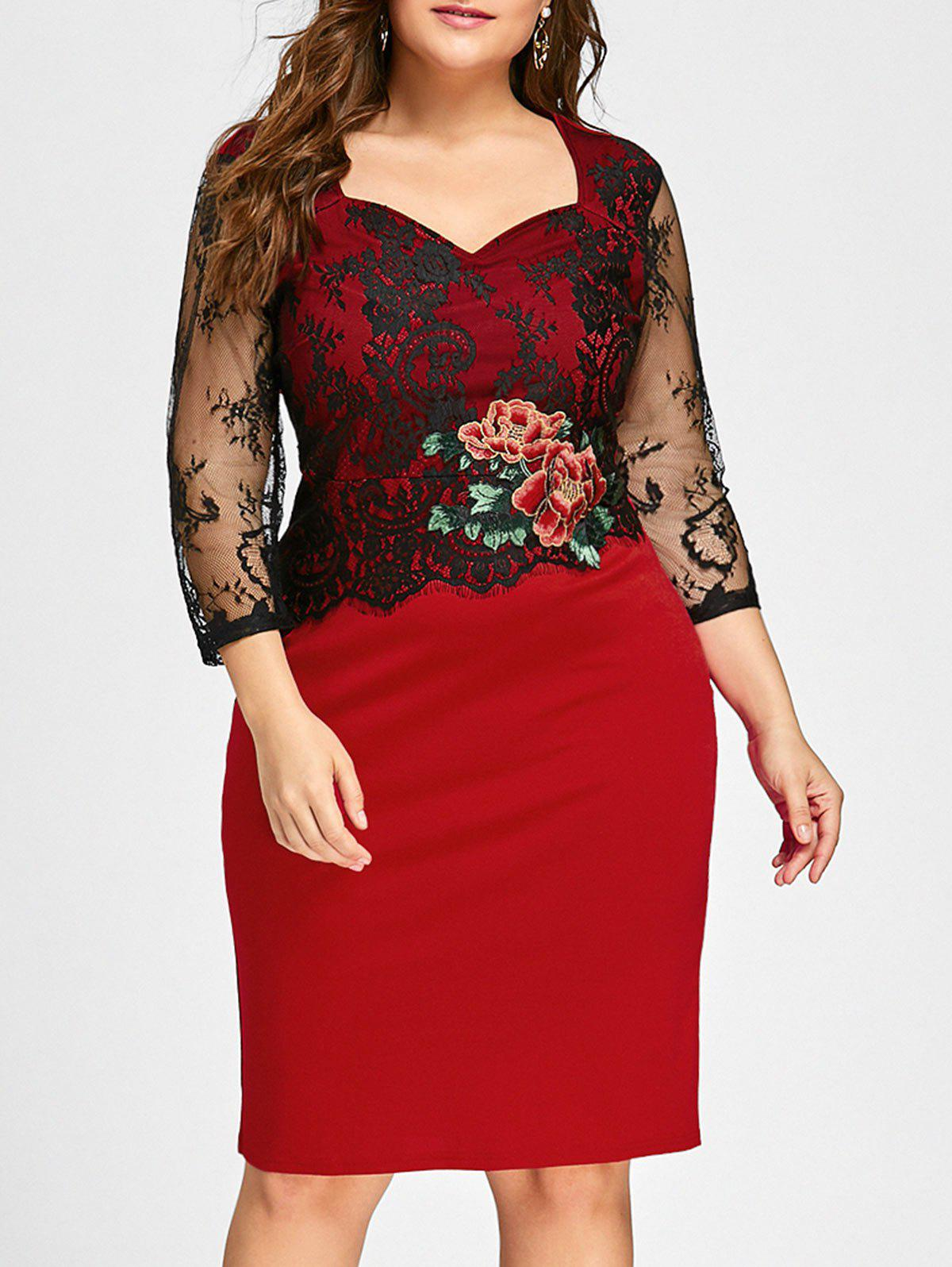 Plus Size Floral Applique Lace Panel Bodycon DressWOMEN<br><br>Size: 4XL; Color: RED; Style: Casual; Material: Cotton,Polyester; Silhouette: Bodycon; Dresses Length: Knee-Length; Neckline: Sweetheart Neck; Sleeve Length: 3/4 Length Sleeves; Embellishment: Appliques; Pattern Type: Floral; With Belt: No; Season: Fall,Spring; Weight: 0.3900kg; Package Contents: 1 x Dress;