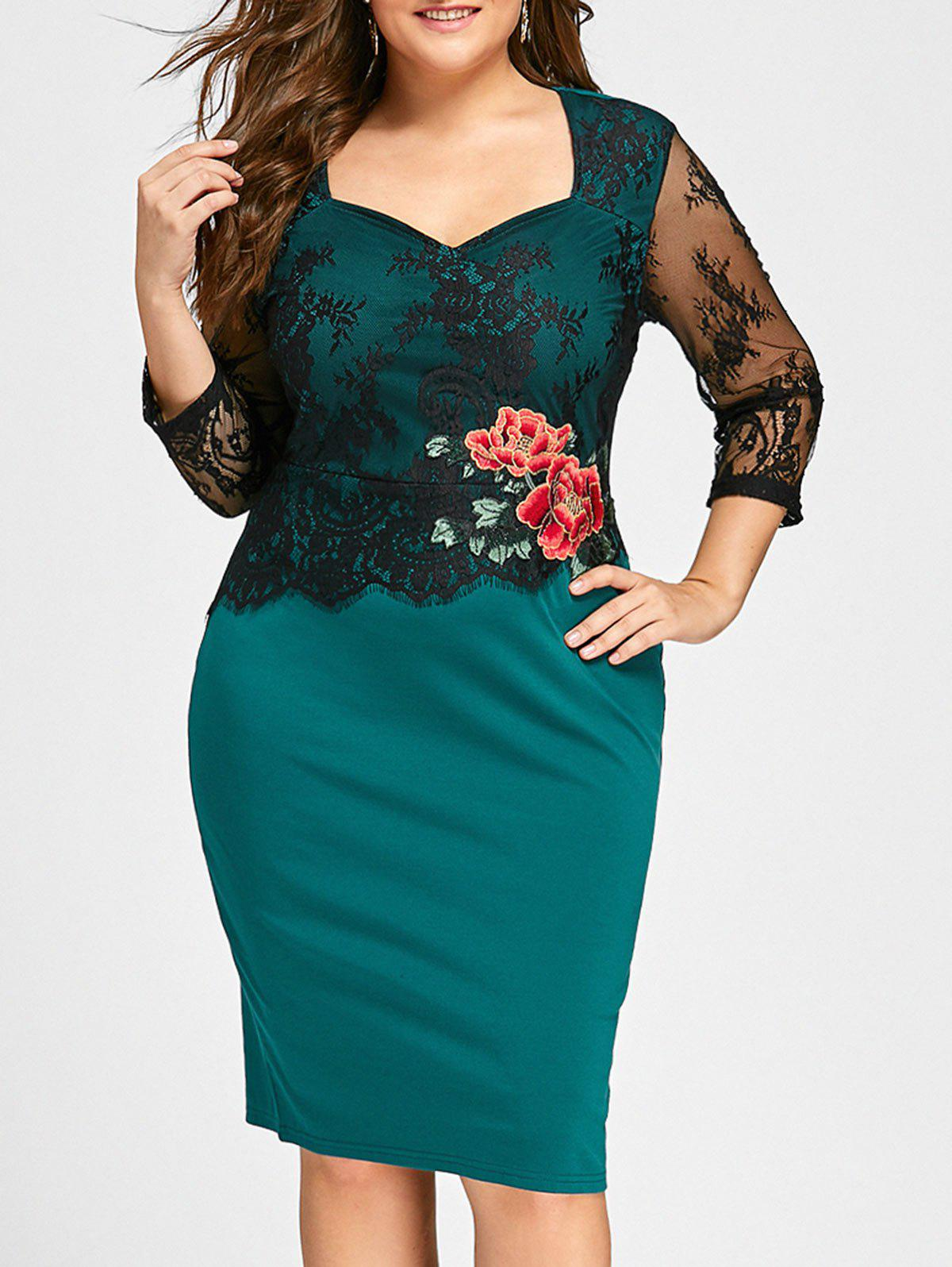 Plus Size Floral Applique Lace Panel Bodycon DressWOMEN<br><br>Size: 5XL; Color: GREEN; Style: Casual; Material: Cotton,Polyester; Silhouette: Bodycon; Dresses Length: Knee-Length; Neckline: Sweetheart Neck; Sleeve Length: 3/4 Length Sleeves; Embellishment: Appliques; Pattern Type: Floral; With Belt: No; Season: Fall,Spring; Weight: 0.3900kg; Package Contents: 1 x Dress;