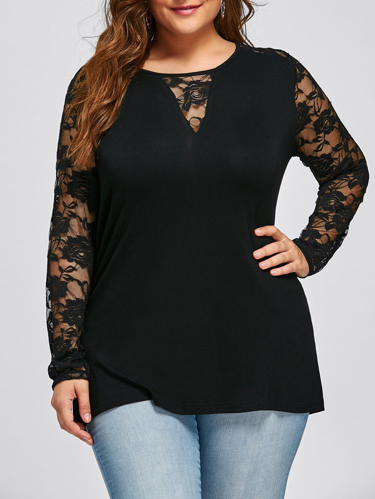 Plus Size Long Sleeve Lace Yoke TopWOMEN<br><br>Size: 2XL; Color: BLACK; Material: Rayon,Spandex; Shirt Length: Long; Sleeve Length: Full; Collar: Keyhole Neck; Style: Casual; Season: Fall,Spring; Embellishment: Lace; Pattern Type: Solid; Weight: 0.2500kg; Package Contents: 1 x Top;