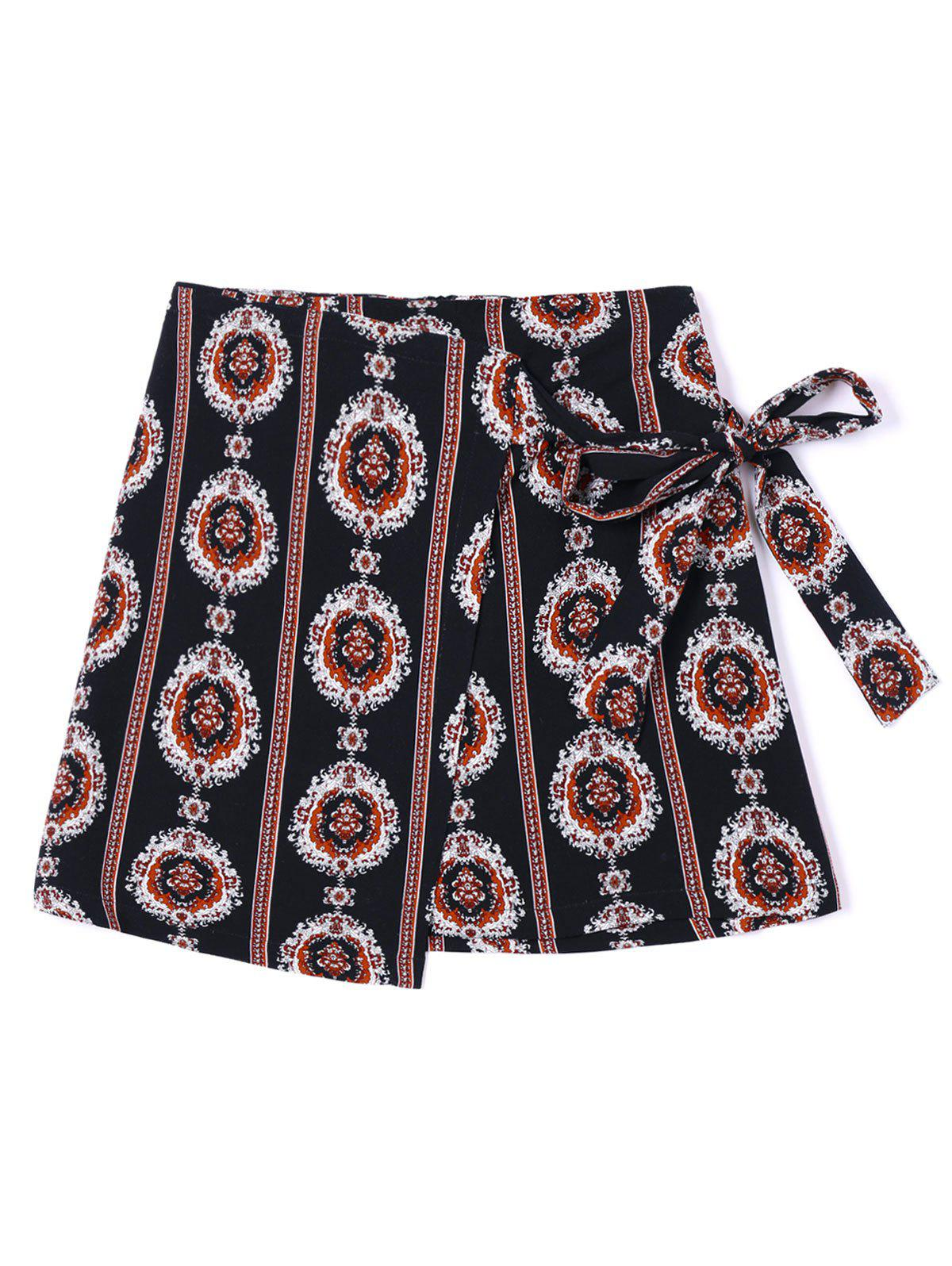 Sale Tribal Print Mini Asymmetric Wrap Skirt