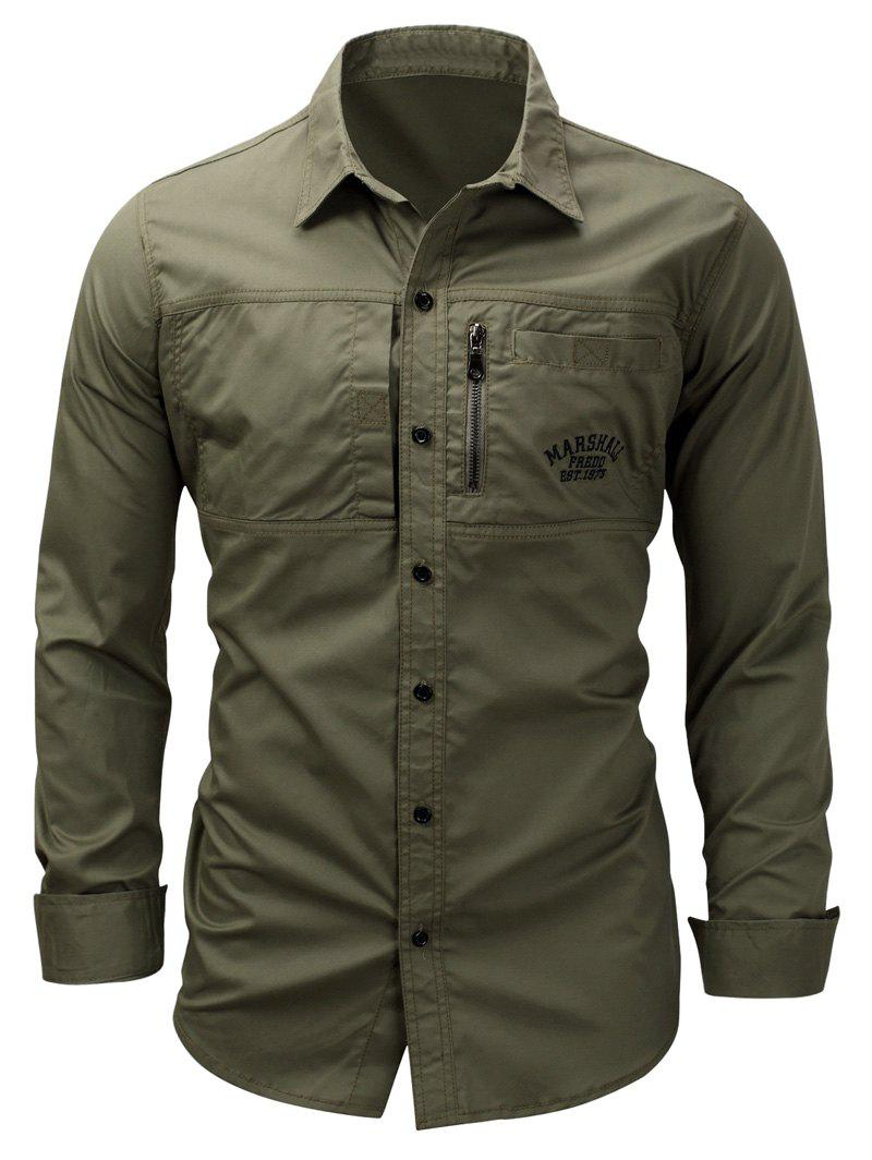 Embroidered Zipper Design Cargo ShirtMEN<br><br>Size: 2XL; Color: ARMY GREEN; Shirts Type: Casual Shirts; Material: Cotton; Sleeve Length: Full; Collar: Turndown Collar; Pattern Type: Letter,Solid; Weight: 0.3800kg; Package Contents: 1 x Shirt;