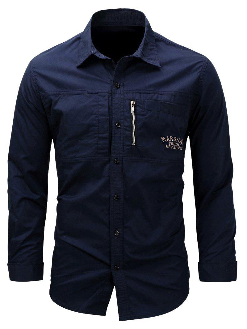 Embroidered Zipper Design Cargo ShirtMEN<br><br>Size: 2XL; Color: DEEP BLUE; Shirts Type: Casual Shirts; Material: Cotton; Sleeve Length: Full; Collar: Turndown Collar; Pattern Type: Letter,Solid; Weight: 0.3800kg; Package Contents: 1 x Shirt;