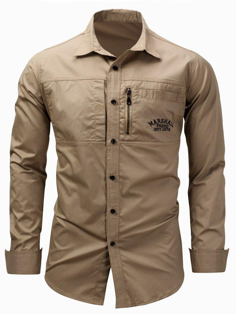 Embroidered Zipper Design Cargo ShirtMEN<br><br>Size: 3XL; Color: KHAKI; Shirts Type: Casual Shirts; Material: Cotton; Sleeve Length: Full; Collar: Turndown Collar; Pattern Type: Letter,Solid; Weight: 0.3800kg; Package Contents: 1 x Shirt;